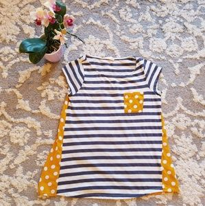 Anthropologie Yellow Polka Dot Stripes Size XS